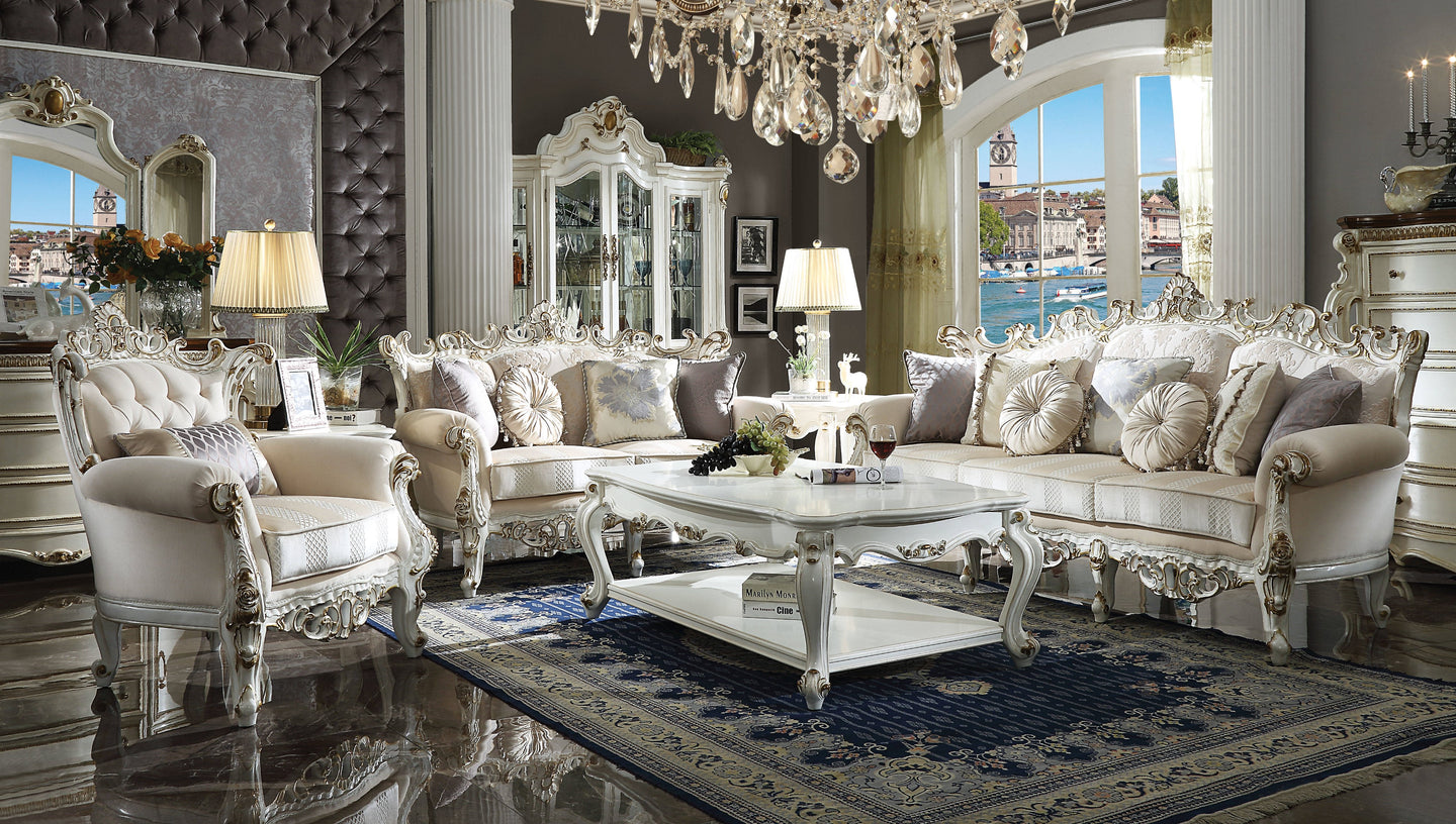 Acme Picardy II Antique Pearl Fabric Finish 3 Piece Sofa Set