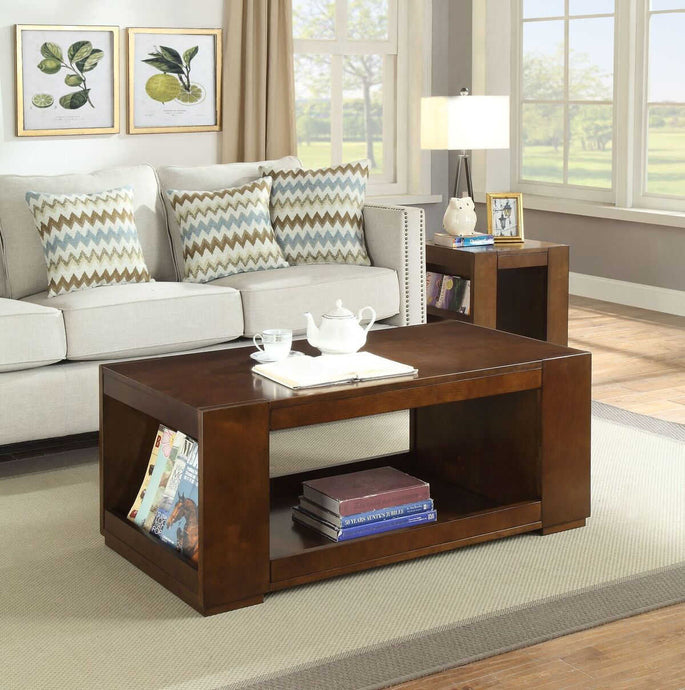 Acme Pisanio Espresso Wood Finish 3 Piece Coffee Table Set