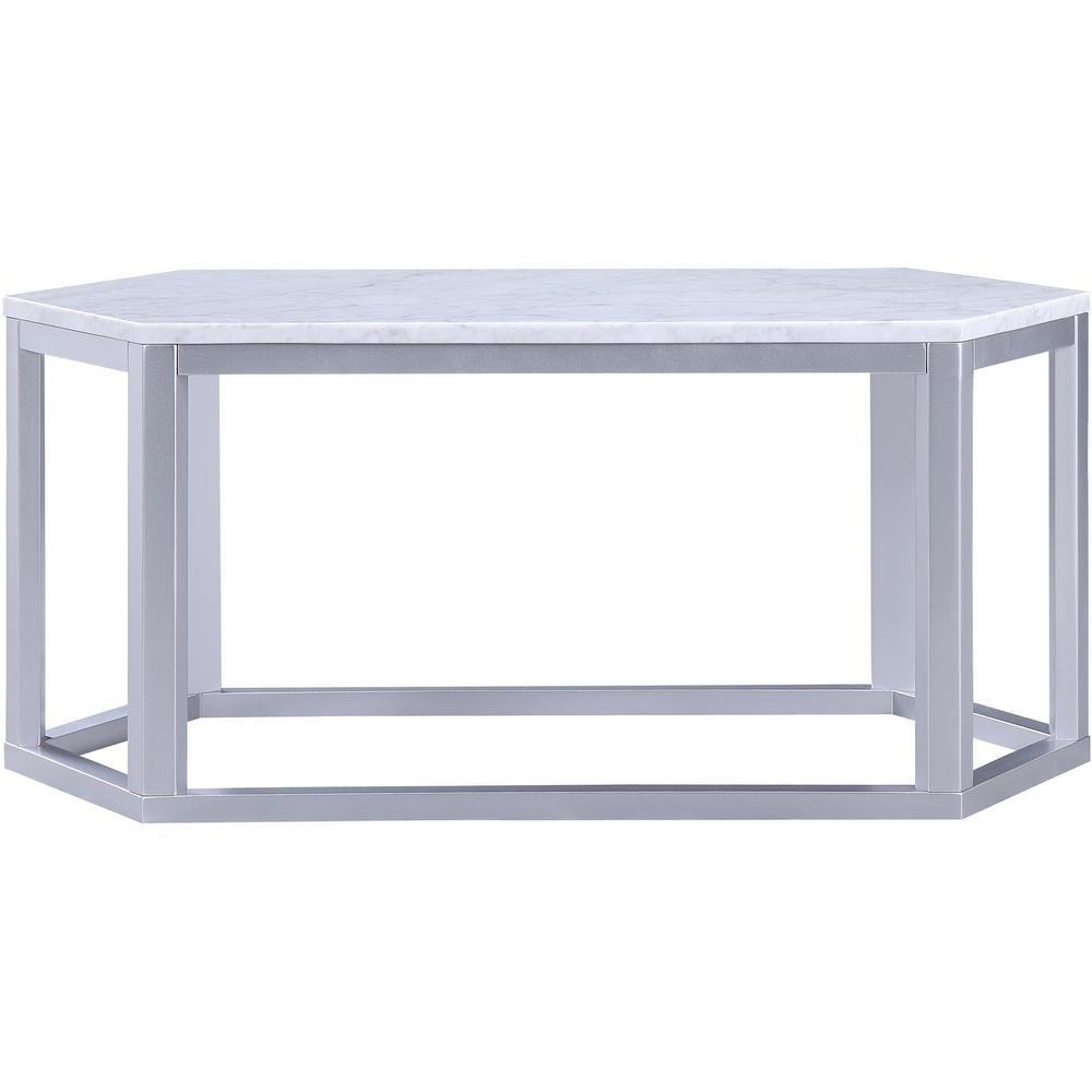 Marble And Silver Coffee Table.Acme Reon Silver Marble Top Finish Coffee Table