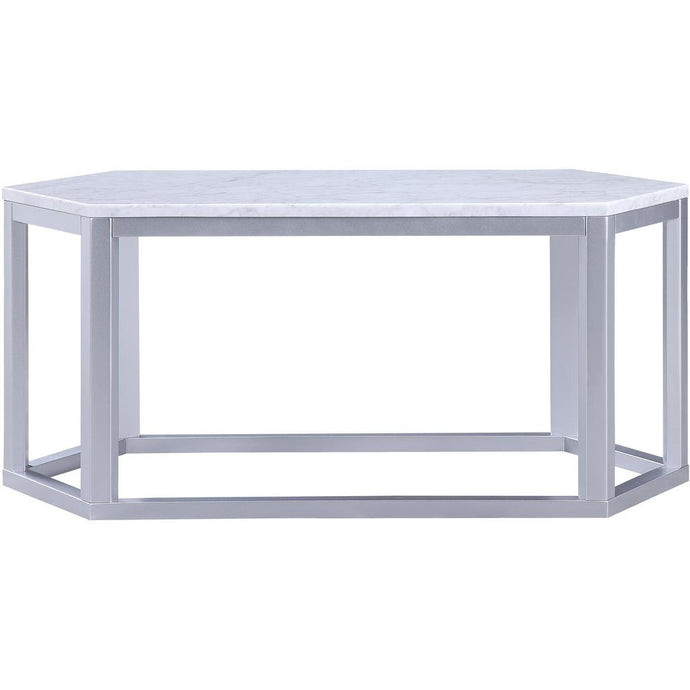 Acme Reon Silver Marble Top Finish Coffee Table
