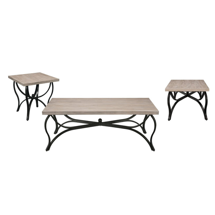 Acme Scilla Gray Oak Wood And Metal Finish 3 Piece Coffee Table Set
