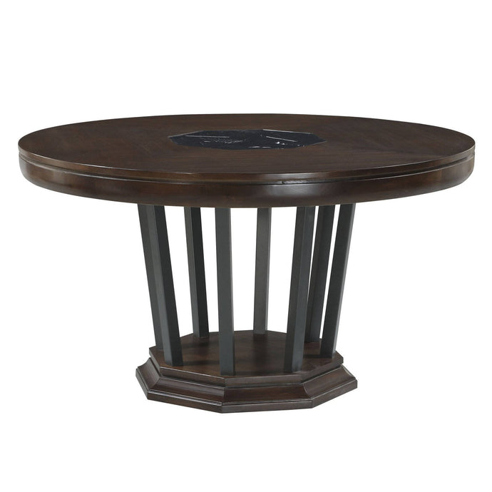 Acme Selma Dark Walnut Wood Finish Round Dining Table