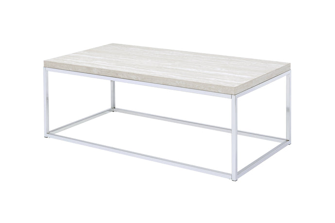 Acme Snyder Chrome Wood And Metal Finish Coffee Table