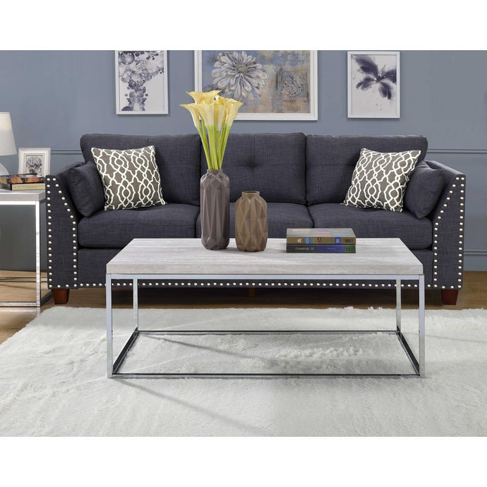 Acme Snyder Chrome Wood And Metal Finish 3 Piece Coffee Table Set