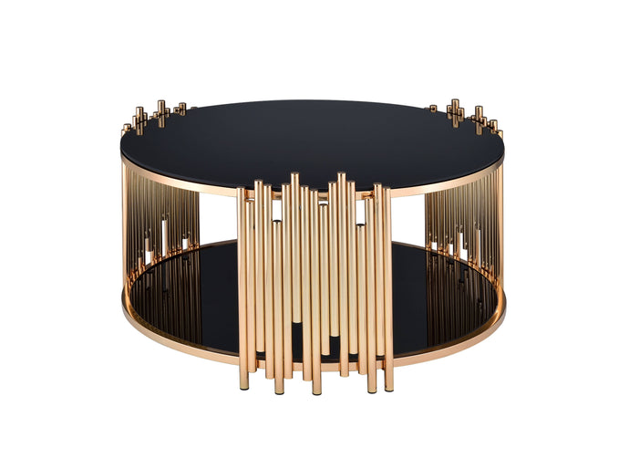 Acme Tanquin Gold And Black Metal Glass Finish Coffee Table