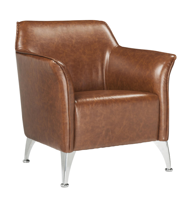 Acme Teague Brown PU Leather Finish Accent Chair