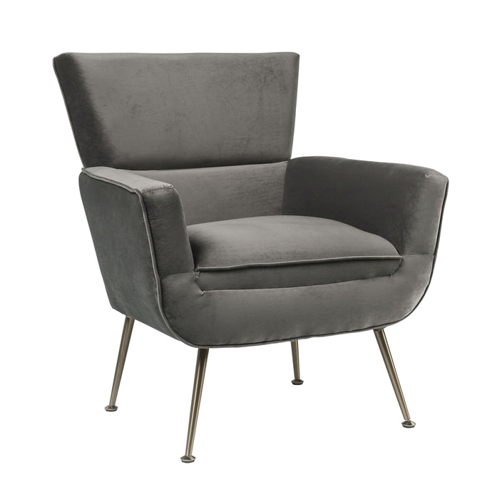 Acme Varik Gray Velvet And Metal Finish Accent Chair