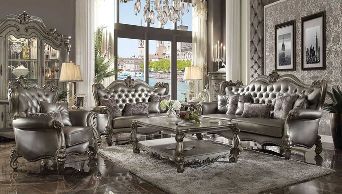 Acme Versailles Silver PU Leather Finish 3 Piece Sofa Set