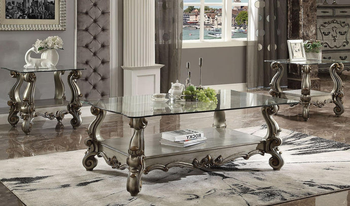 Acme Versailles Antique Pearl Glass Top Finish 3 Piece Coffee Table Set