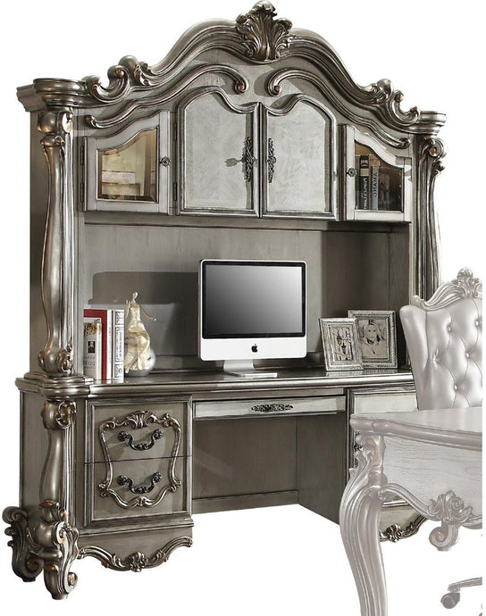 Acme Versailles Antique Pearl Wood Finish Computer Desk And Hutch