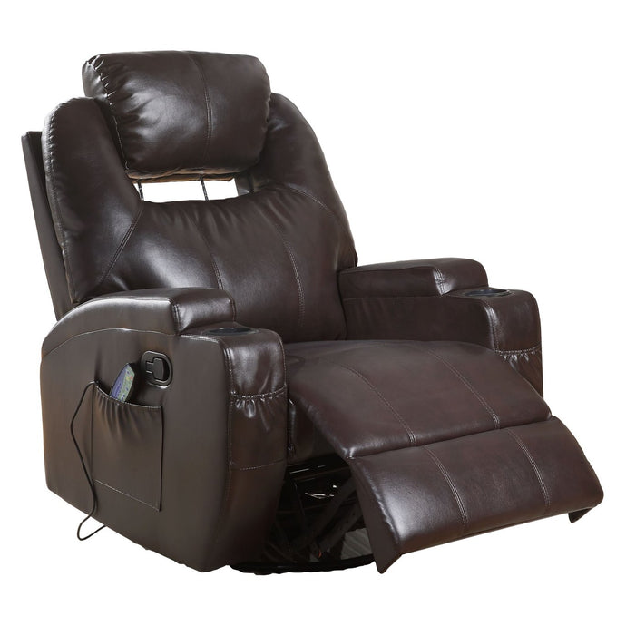 Acme Waterlily Brown PU Leather Finish Recliner Chair