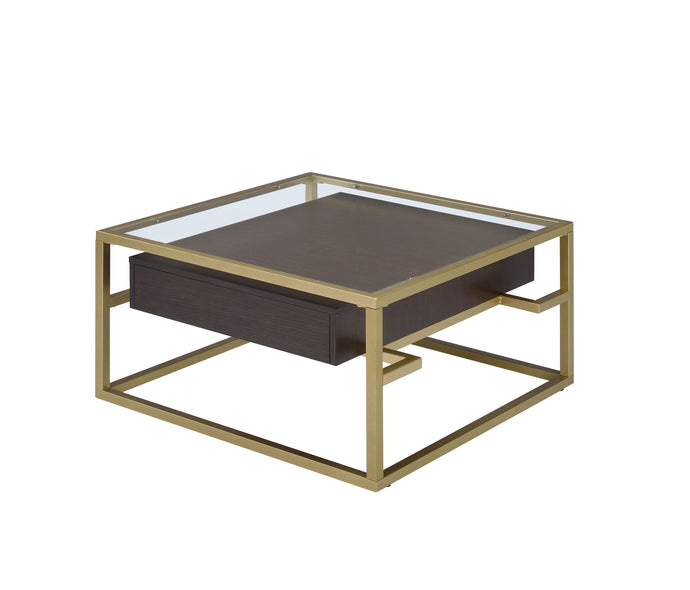 Acme Yumia Gold And Brown Wood Finish Coffee Table
