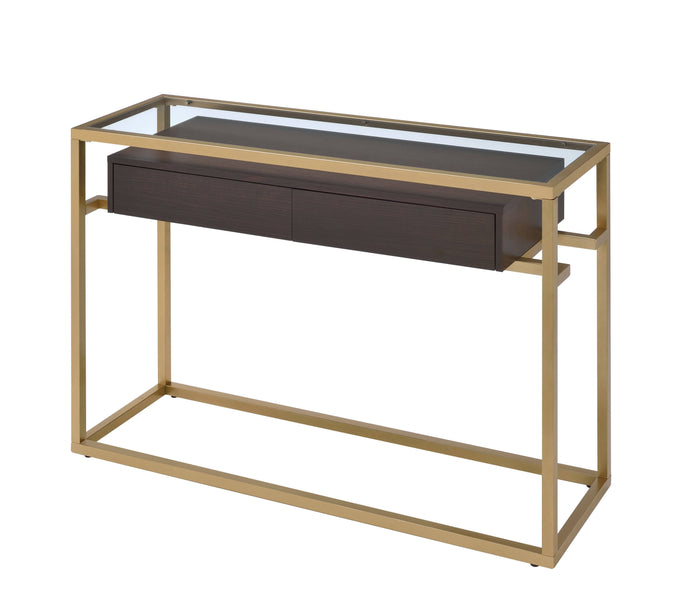 Acme Yumia Gold And Brown Wood Finish Console Sofa Table