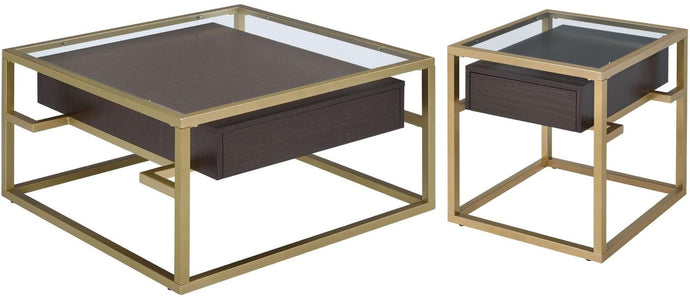 Acme Yumia Gold And Brown Wood Finish 3 Piece Coffee Table Set