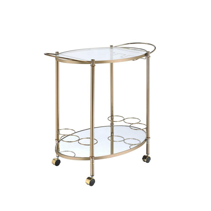 Acme Zadok Champagne Metal And Glass Finish Service Cart