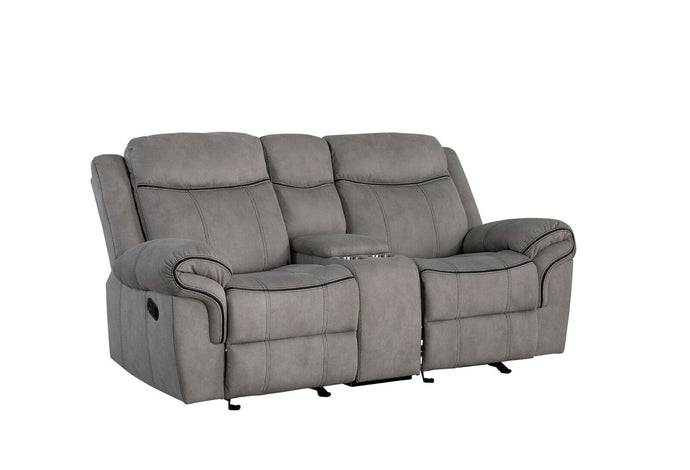 Acme Zubaida Gray Two Tone Velvet Finish Recliner Loveseat