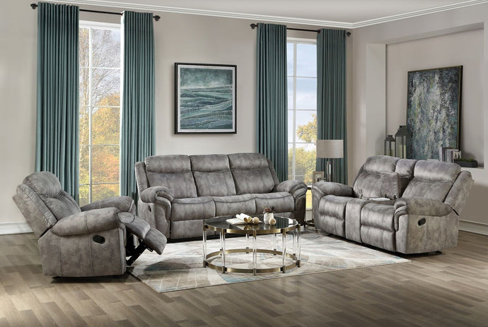 Acme Zubaida Gray Two Tone Velvet Finish 3 Piece Recliner Sofa Set