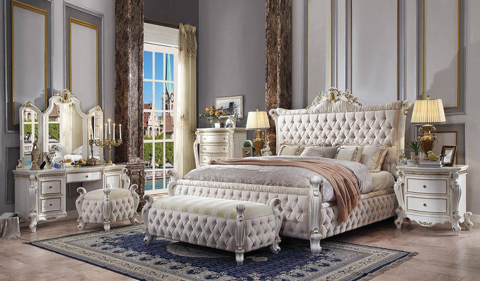 Acme Picardy Antique Pearl Fabric Finish 4 Piece Queen Bedroom Set