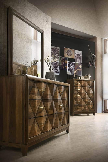 Acme Delilah Walnut Wood Finish Dresser With Mirror
