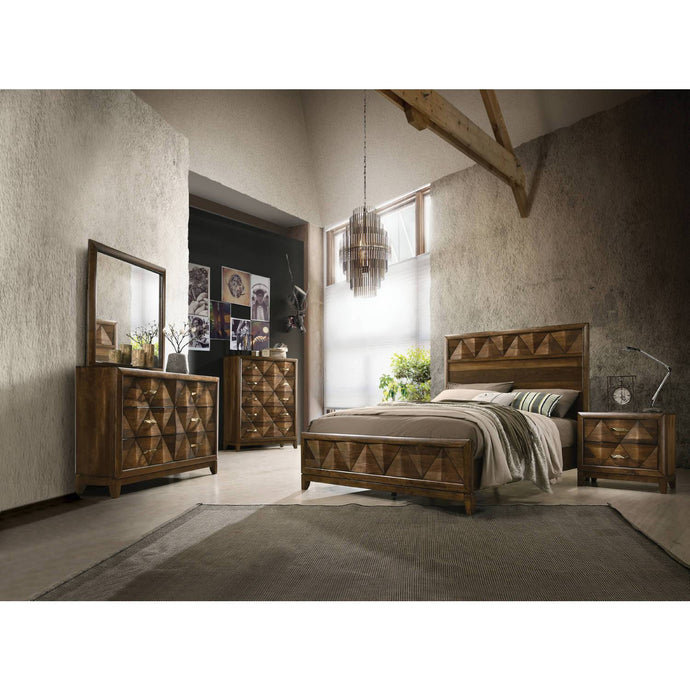 Acme Delilah Walnut Wood Finish 4 Piece Queen Bedroom Set