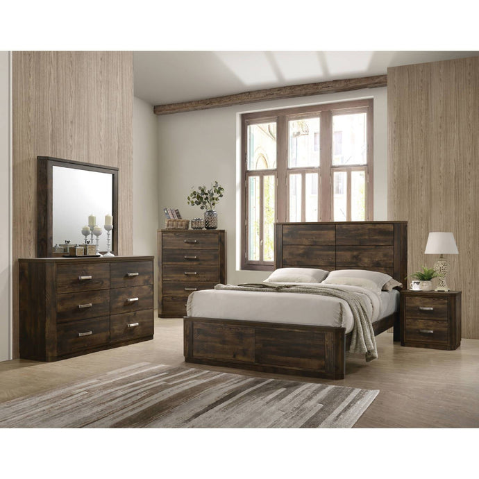 Acme Elettra Walnut Wood Finish 4 Piece Queen Bedroom Set