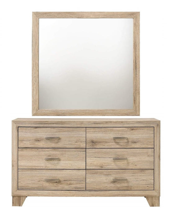 Acme Miquell Natural Wood Finish Dresser With Mirror