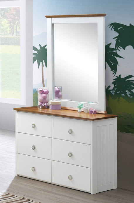 Acme Farah White And Oak Wood Finish Dresser With Mirror