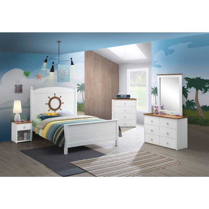 Acme Farah White And Oak Wood Finish 4 Piece Full Bedroom Set