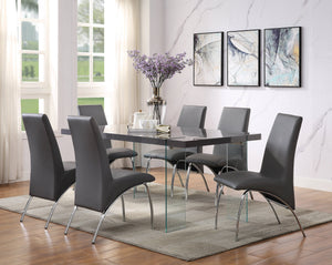 Acme Noland Gray Glass Top Finish 7 Piece Dining Table Set