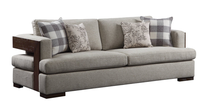 Acme Niamey Cherry And Gray Fabric Finish Sofa