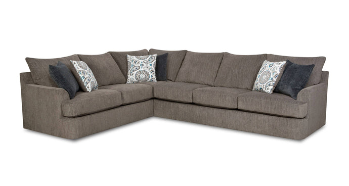 Acme Firminus Brown Chenille And Wood Finish Sectional Sofa