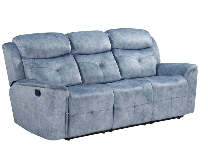 Acme Mariana Silver Blue Fabric Finish Recliner Sofa
