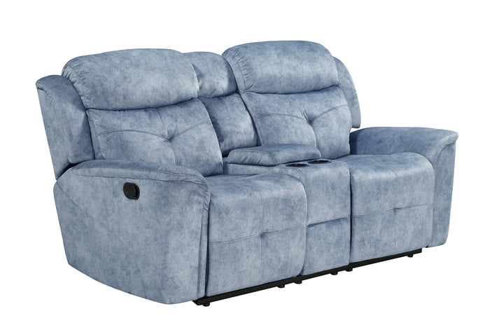 Acme Mariana Silver Blue Fabric Finish Recliner Loveseat