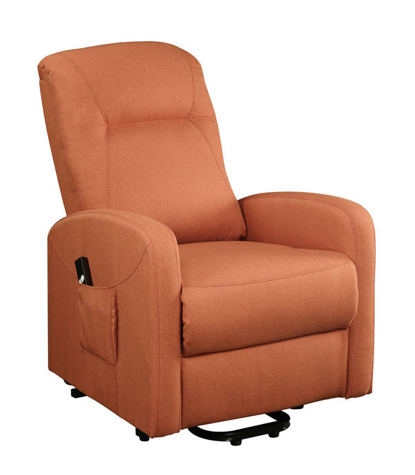 Acme Kasia Orange Linen And Metal Finish Recliner Chair