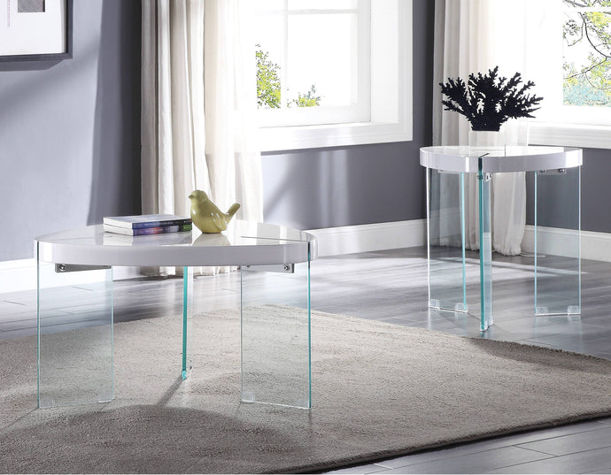 Acme Noland White Wood And Glass Finish 3 Piece Coffee Table Set