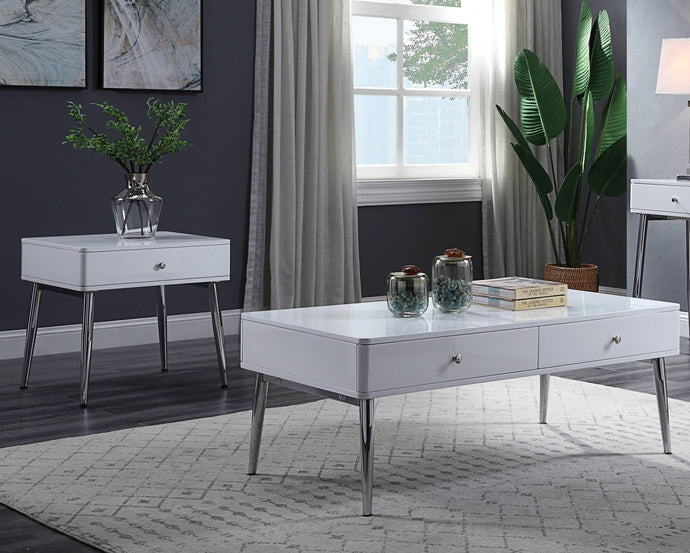 Acme Weizor White Glass And Metal Finish 3 Piece Coffee Table Set