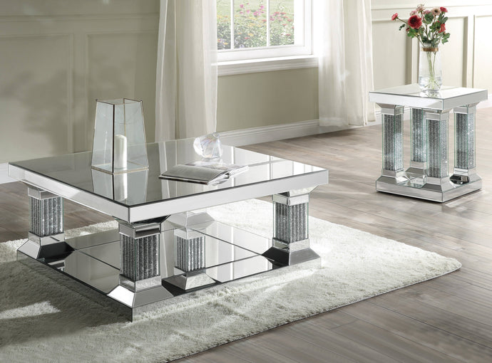 Acme Caesia Silver Glass Finish 3 Piece Coffee Table Set