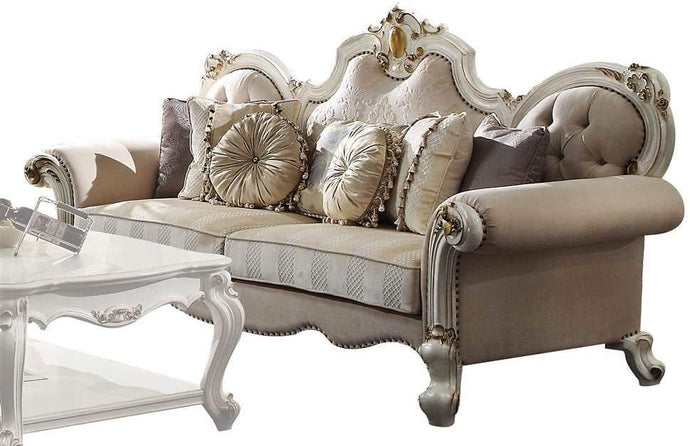 Acme Picardy Antique Pearl Fabric And Wood Finish Sofa