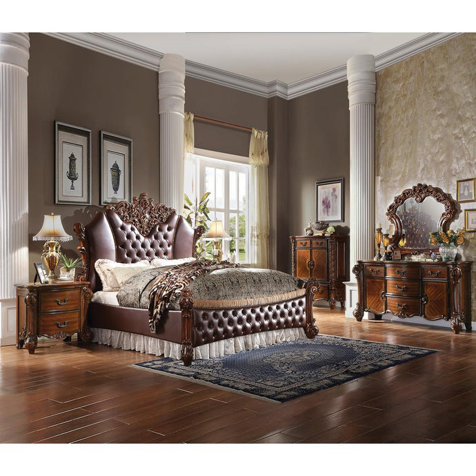 Acme Vendome PU Leather And Wood Finish 4 Piece Eastern King Bedroom Set