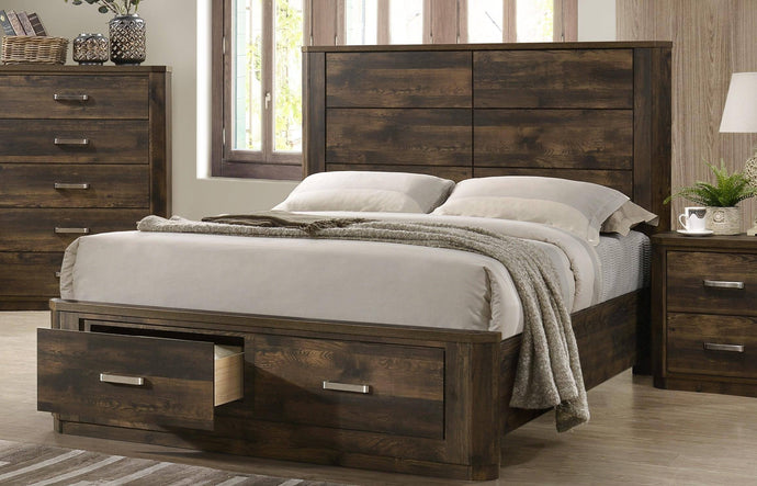 Acme Elettra Rustic Walnut Wood Finish Eastern King Bed