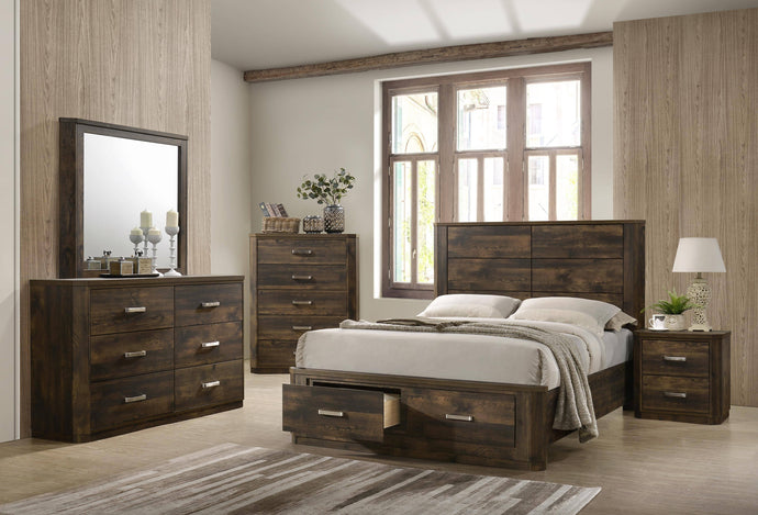 Acme Elettra Rustic Walnut Wood Finish 4 Piece Queen Bedroom Set