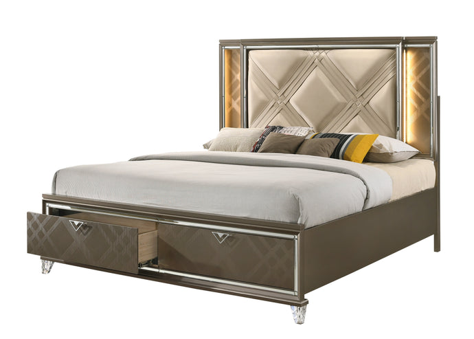 Acme Skylar Champagne Wood Finish Eastern King Bed