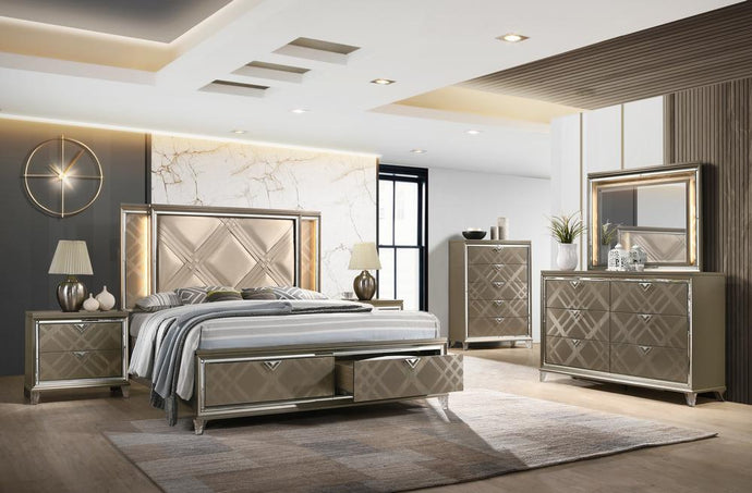 Acme Skylar Champagne Wood Finish 4 Piece Full Bedroom Set