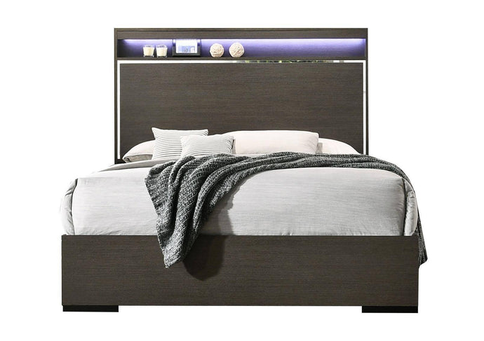 Acme Escher Gray Wood Finish Eastern King Bed