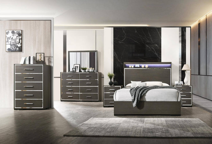 Acme Escher Gray Wood Finish 4 Piece Queen Bedroom Set