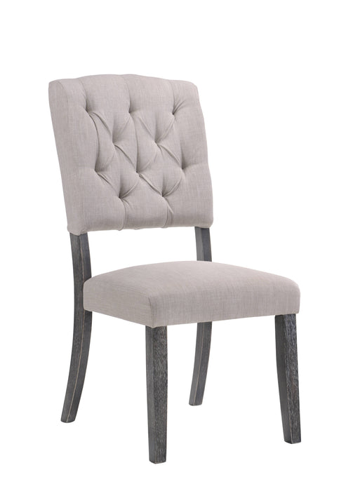Acme Bernard Weathered Oak Wood And Fabric Finish 2 Piece Dining Chair