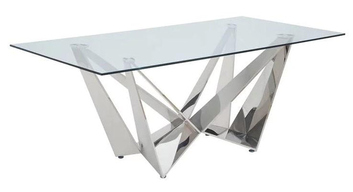 Acme Dekel Clear Stainless Steel And Glass Finish Dining Table