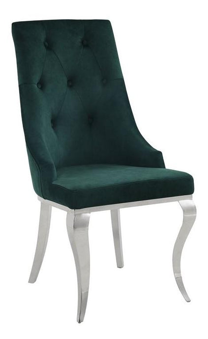 Acme Dekel Green Fabric And Stainless Steel Finish 2 Piece Dining Chair