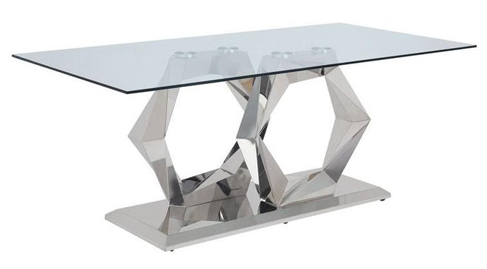 Acme Gianna Clear Glass And Stainless Steel Finish Dining Table