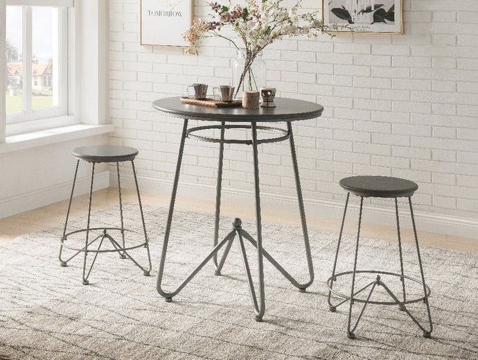 Acme Nimai Gray Oak Metal Wood Finish 3 Piece Bar Table Set